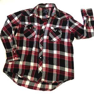 Flannel by cactus western cut plaid shirt men's m